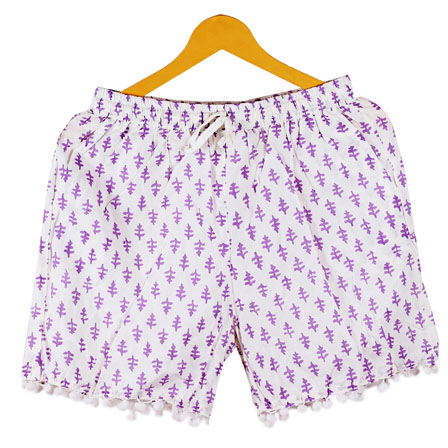 Purple White Flower Cotton Block Print Short-14672