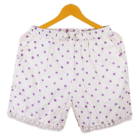 Purple White Polka Cotton Block Print Short-14663