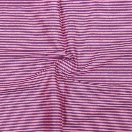 Purple White Striped Handloom Khadi Cotton Fabric-40706
