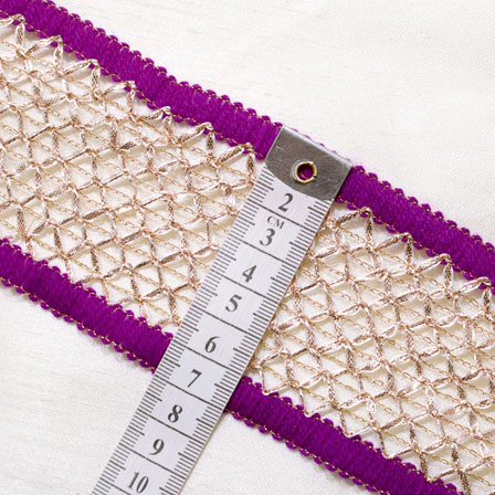 9 MTR Roll of Purple-White and Gold Square Shape Embroidery Jacquard Lace-4051