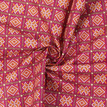 Purple-White and Yellow Square Pattern Kalamkari Cotton Fabric-10022