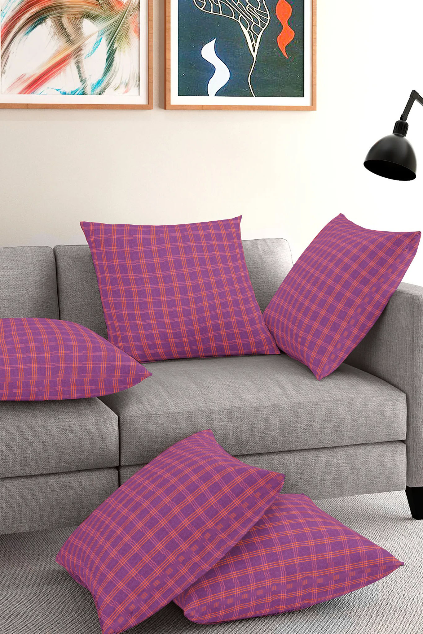 Set of 5-Purple Yellow Cotton Cushion Cover-35406-16x16 Inches