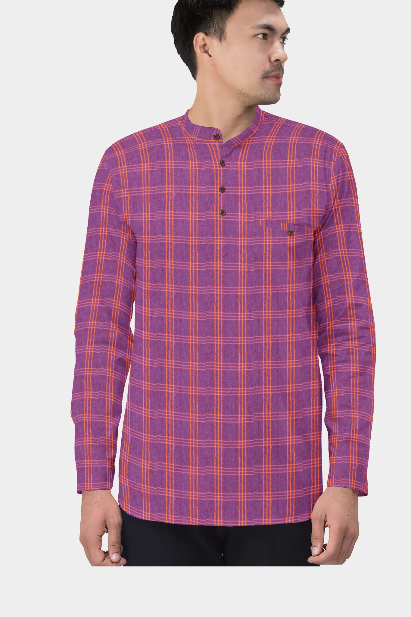 Purple Yellow Cotton Check Short Kurta-35450