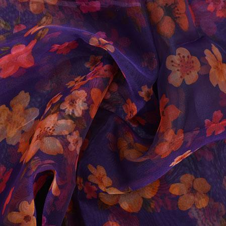 Purple Yellow and Pink Flower Organza Silk Fabric-22268