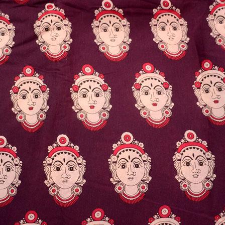 Purple and Cream Durga Devi Face Kalamkari-Screen Cotton Fabric-5503