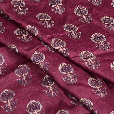 Purple and Cream Jam Cotton Silk Fabric-75104