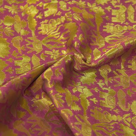 Purple and Golden Animals Design Brocade Silk Fabric-8042