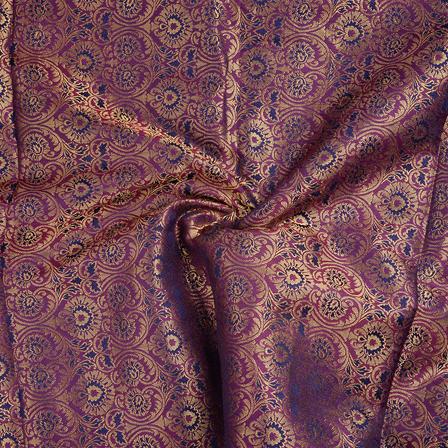 Purple and Golden Brocade Silk Fabric-8649