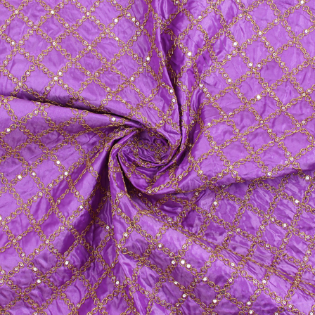 Purple and Golden Embroidery Silk Fabric-60904