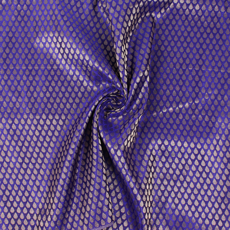 Purple and Golden Floral Brocade Silk Fabric-8862
