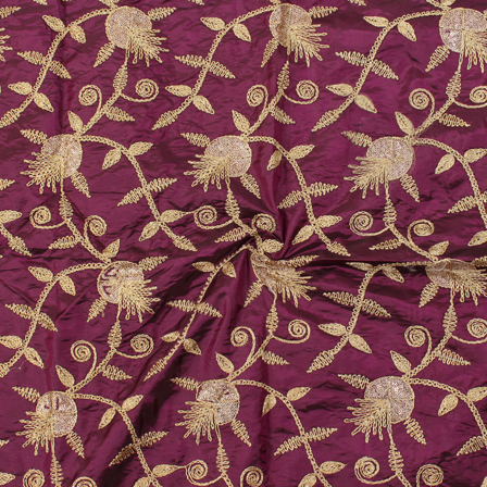 Purple and Golden Floral Design Silk Embroidery Fabric-60149