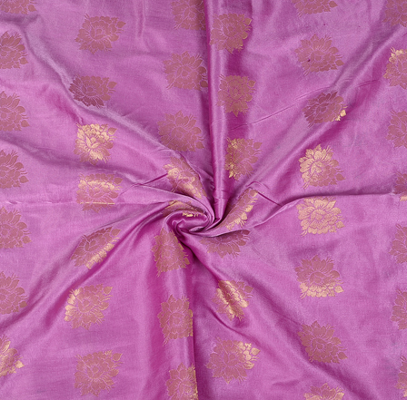 Purple and Golden Floral  Design Two Tone Banarasi Silk Fabric-8439