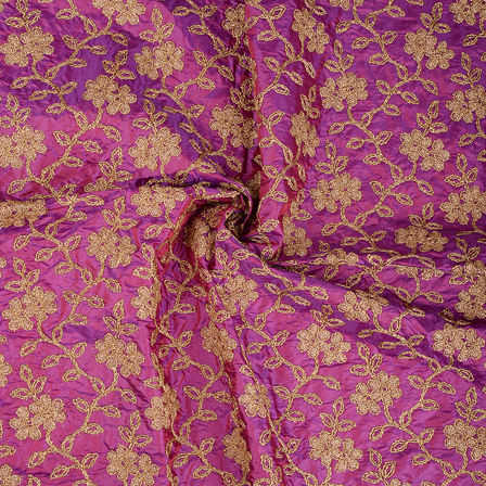 Purple and Golden Floral Pattern Silk Paper Embroidery Fabric-60596