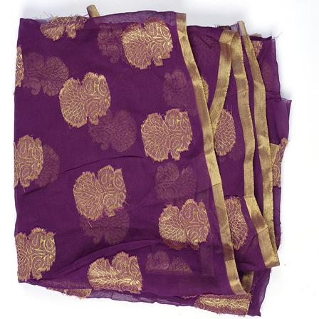 Purple and Golden Flower Design Chiffon Fabric-29035