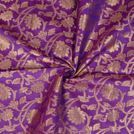 Purple and Golden Flower Design Two Tone Banarasi Silk Fabric-8398
