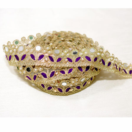 9 MTR Roll of Purple and Golden Leaf Design Jacquard Ribbon-4044