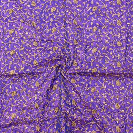 Purple and Golden Leaf Design Silk Embroidery Fabric-60115