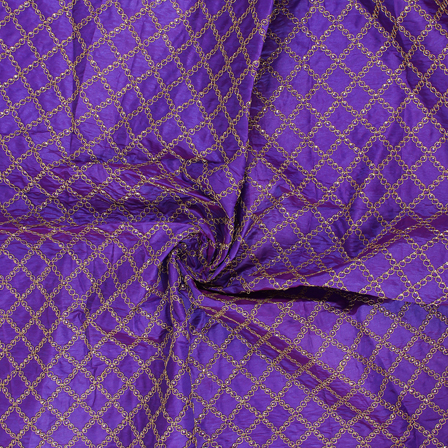 Purple and Golden Silk Embroidery Fabric-RAH60449