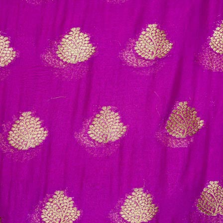 Purple and Golden Tree Pattern Chiffon Fabric-4351
