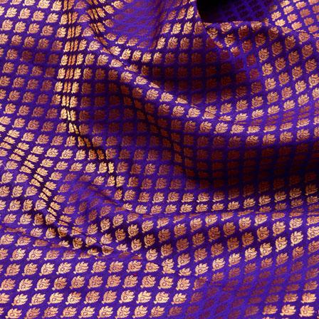 Purple and Golden leaf Design Brocade Silk Fabric-5332