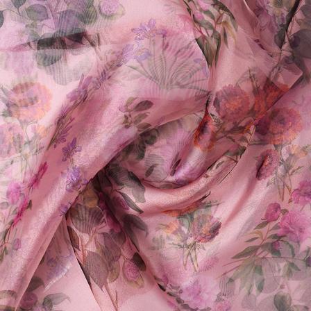 Purple and Green Flower Digital Organza Fabric-51232