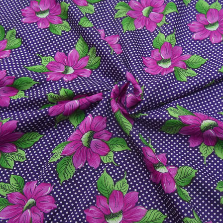 Purple and Green Flower Pattern Crepe Fabric-18060