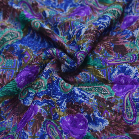 Purple and Green Paisley Design Kalamkari Manipuri Silk-16101