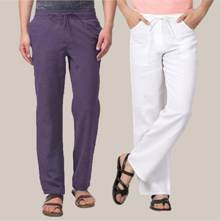 Combo of 2 Cotton Men Handloom Pant Purple and White-35985
