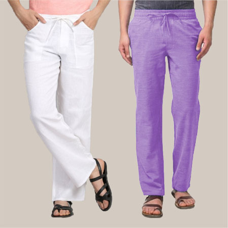 Combo of 2 Cotton Men Handloom Pant Purple and White-35986