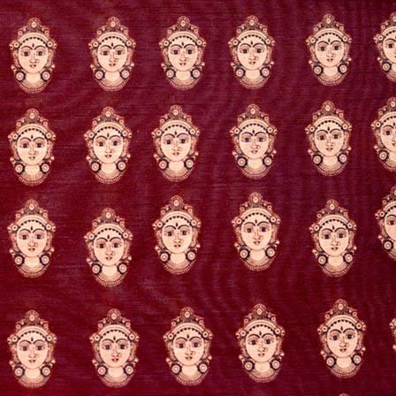 Purple durga devi digital print silk fabric-4904