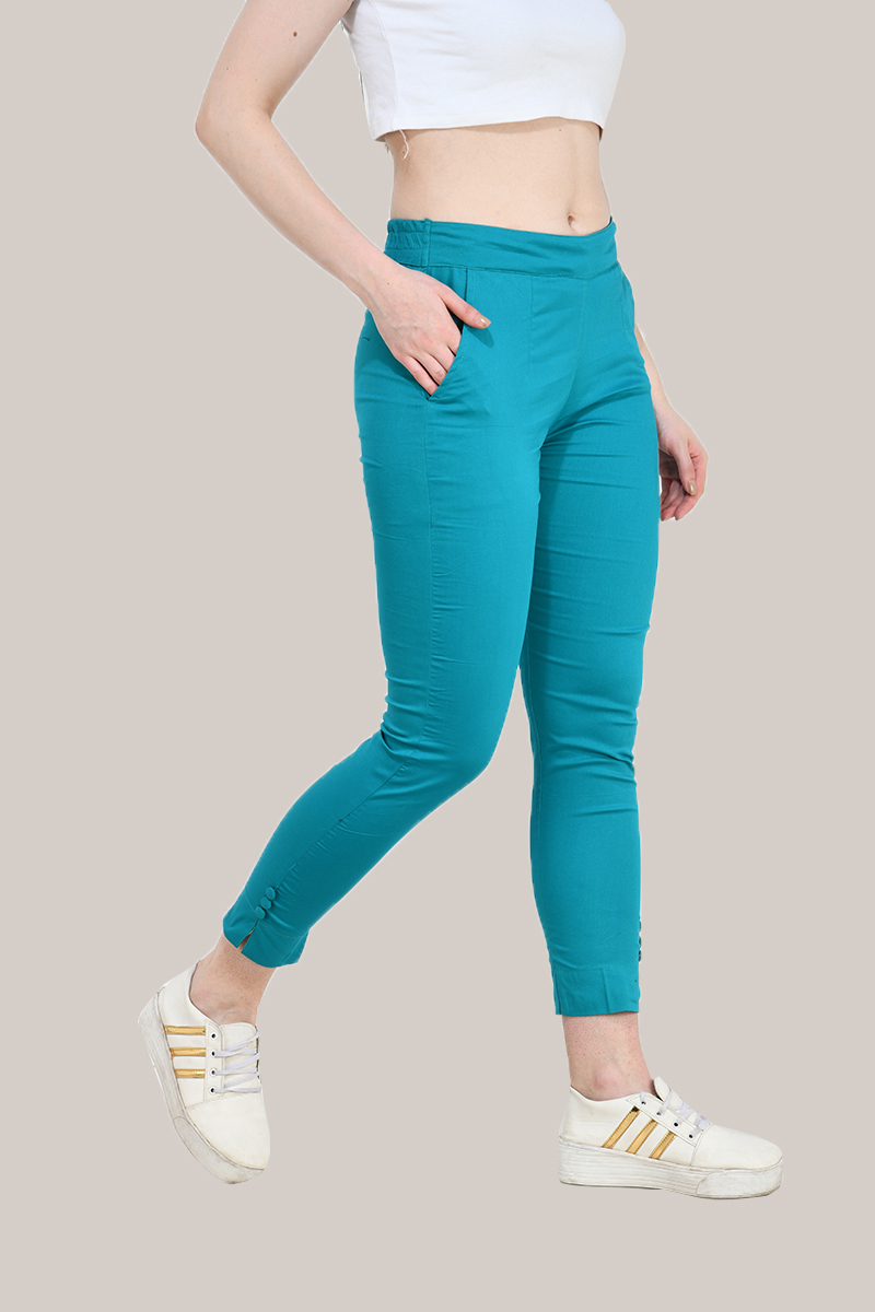 Rama Green Cotton Lycra Trippy Pant-33513