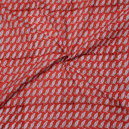 Red White Block Print Cotton Fabric-14733