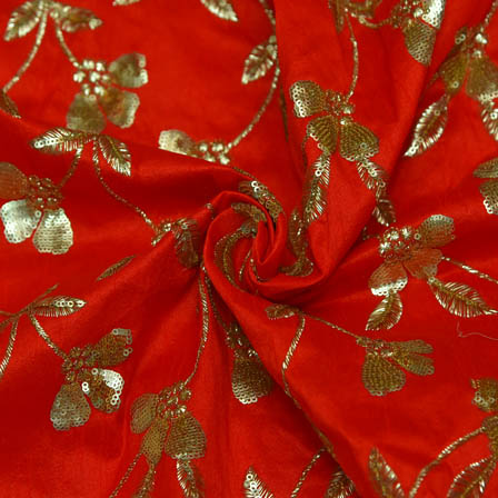 Red Banarasi Dupion Base Fabric With Golden Floral Embroidery-60024