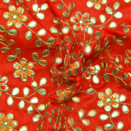 Red Banglori Silk Base Fabric With Orange and Golden Flower Embroidery-60009