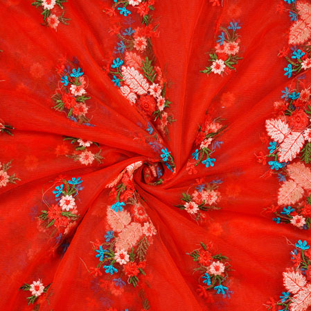 Red Beige Floral Net Embroidery Silk Fabric-18893