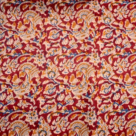 Red-Beige and Yellow Unique Pattern Kalamkari-Screen Fabric-5482