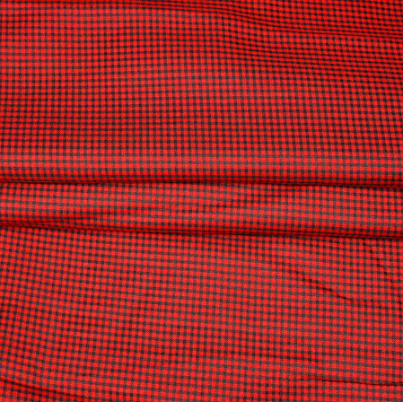 Red Black Checks Handloom Cotton Fabric-42482
