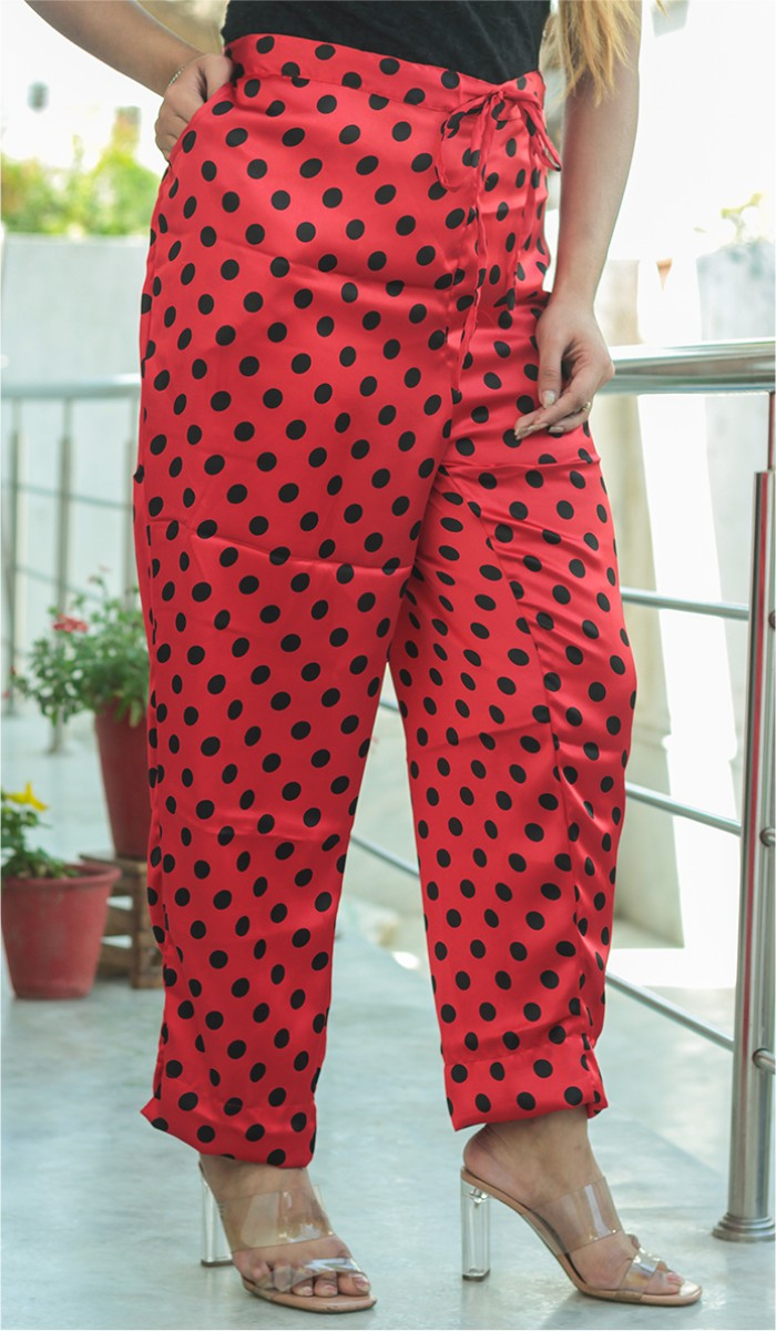Red Black Crepe Polka Women Pant-34706
