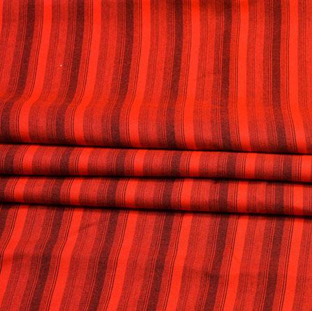 Red Black Stripe Handloom Cotton Fabric-41017