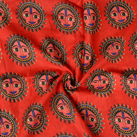 Red-Black and Blue Durga Devi Design Manipuri Kalamkari Silk Fabric-16174