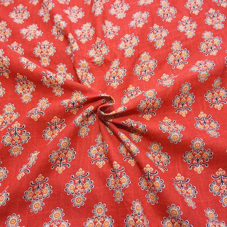 Red-Black and Orange Floral Design Block Print Cotton Fabric-14172