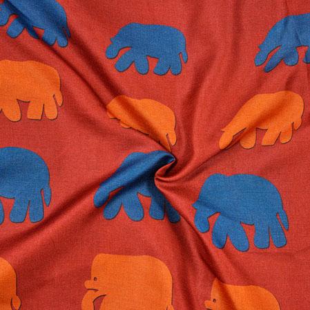 Red Blue Elephant Print Manipuri-Silk Fabric-18072
