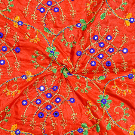 Red Blue Green and Golden Embroidery Silk Paper Fabric-18700