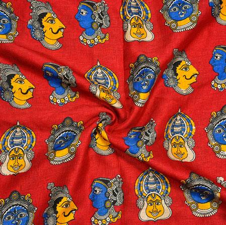 Red Blue Kuchipudi Print Manipuri-Silk Fabric-18076