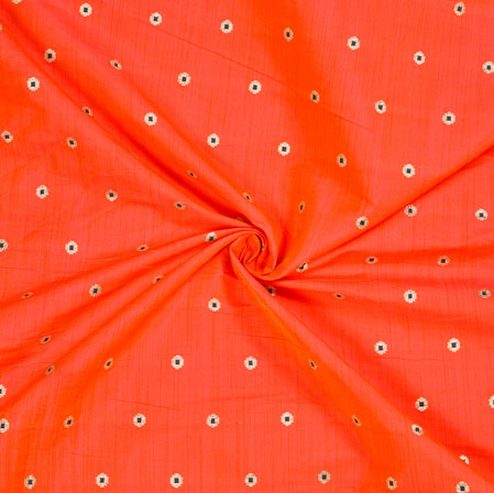 Red Blue Polka Zari Taffeta Silk Fabric-12661