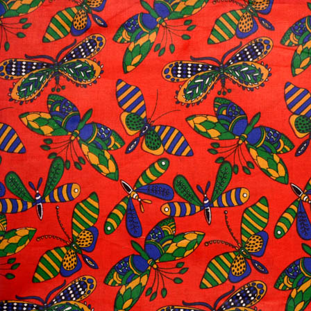 Red-Blue and Green Butterfly Shape Cotton Kalamkari Fabric-5532