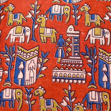 Red-Blue and Green Elephant Deer forest pattern kalamkari fabric 4544
