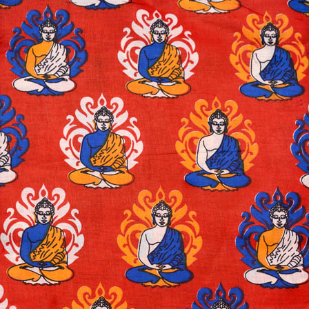 Red-Blue and Orange Buddha Kalamkari Cotton Fabric-5568