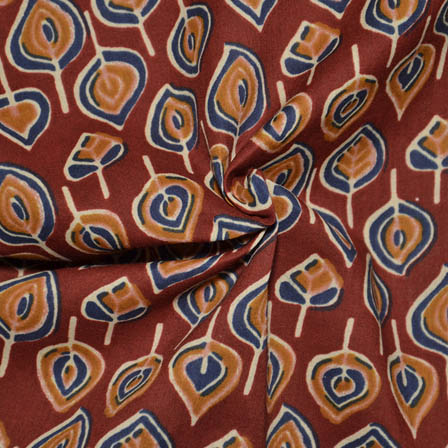 Red-Blue and Orange Leaf Design Ajrakh Block Cotton Fabric-14009