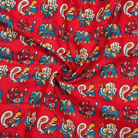 Red Blue and WHite Animal Cotton Kalamkari Fabric-28006